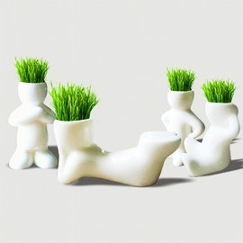 Vaso pupazzo con capelli d'erba